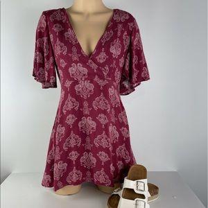 SHOWPO Size 8 Wine Lined Tie Back Dress